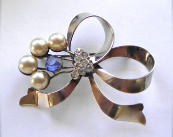 Vintage Sterling Silver Ribbon Brooch PIn 1940's Pearls & Rhinestones