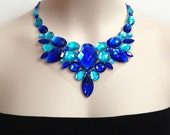 royal blue and aquamarine bib rhinestone handmade necklace, wedding, prom, bridesmaids, party necklace