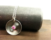 Blackened Silver Birthstone Pendant, Oxidized Silver Necklace, Pink Tourmaline, October