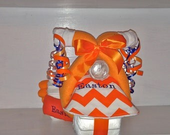 Personalized Diaper Tricycle.  Name Embroidered on the Bib, Burp Cloth & Blanket for Free.  Orange Chevron.  Several Color Options Available
