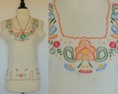 SALE TODAY ONLY Vintage Floral Mexican Embroidered Blouse