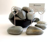 Mint Wedding Shades of Green Small Beach Stone Place Card Holders