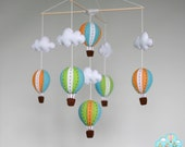 Lime Miami hot air balloons baby mobile, baby mobile, up in the air mobile, bright and colorful mobile