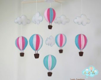 Blue and pink hot air balloon baby mobile - baby mobile - blue and pink - winter