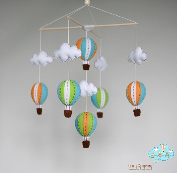 Lime Miami hot air balloons baby mobile baby mobile up in