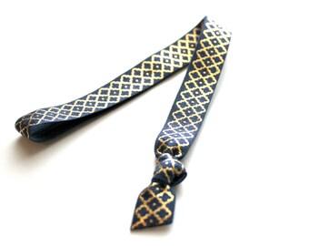 1 Navy Gold Moroccan Handmade Elastic Headband