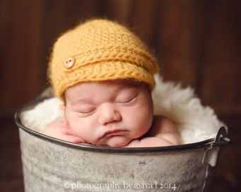 Crochet Newsboy Hat with Buttons, Newborn Photo Prop,Wool Newsboy Hat, Multiple Sizes