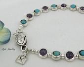 SALE Stunning Amethyst and Turquoise gemstone bracelet