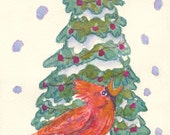 Christmas Cardinal Greeting Cards, By Michelle Kogan, Watercolor, Green, Red, Holiday Cards, Winter, Bird, Children's Art, Blank Cards