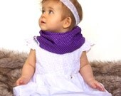"""Modern Bib (Purple Dots) All in One Scarf & Bib """"Scabib""""tm for babies or toddlers"""