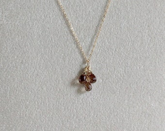 Smoky Cubic Zirconia Pendant - Dainty Brown CZ Teardrop Cluster Pendant Necklace Gift for Her