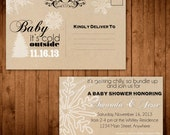 """Rustic """"Baby It's Cold Outside"""" Winter Baby Shower Invitation Postcard"""