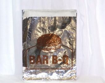 BBQ BAGS, 20 Retro Style Barbeque Foil Sandwich Bags, Ribs, Fall Cookouts, Camping , Pig Picking,  Cook Out, Tailgating, Sports, Reunions
