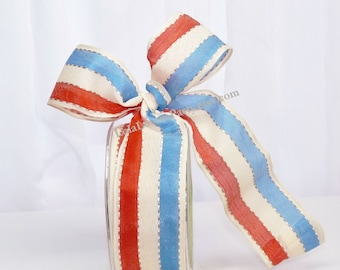 Freedon Stripe Wired Ribbon - Red  Natural & Blue Stripe  Packages,Weddings, Gift Wrapping,Bows, Tags, Cards,Crafts, Shower, Party Favors