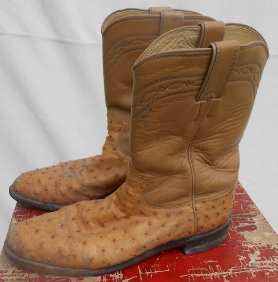 womens leather ostrich skin roper boots by kissmyattvintage