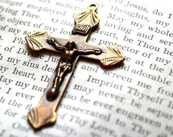 """Etched Diamond Crucifix  - 1 7/8"""" - Bronze - Vintage Replica - Made in the USA"""