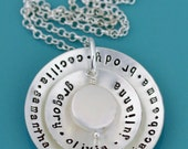 Grandmother Necklace, Hand Stamped Grandma Jewelry, Personalized Gift for Grandparent, Sterling Silver Disc Personalized, Grandma Necklace