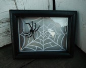 Halloween Decor. 3D Cut Paper Spider in his Web. In Silver, Black and White.