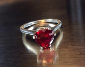 Red Ruby Heart Ring, Wedding Ring, Engagement Ring, Sweetheart Ring, Promise Ring, Valentine's Gift, Ruby Heart Ring