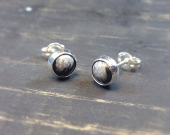 Snowflake Obsidian and Sterling Silver Earrings, Post Earrings, Bridesmaids Gifts