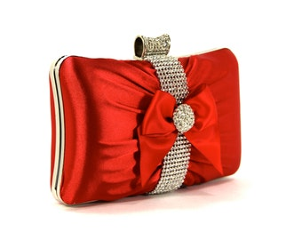 Red Satin Purse, Red Evening Bag with Rhinestones and a Satin Bow, Bridal Clutch, Red Purse, Red Wedding, Red Satin, Satin Purse