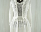SOLD/ Not Available  Handmade Vintage Crocheted Wedding Dress/ Summer Soiree Picnic Dress/ Beach Wedding