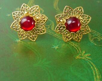 RED cufflinks Dainty Jewel Filigree Cuff links Flower Gold Ladies Patent Floral Wedding Anniversary Valentines