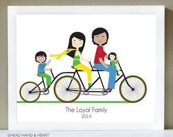 Custom Portrait, Family Portrait, Tandem Bike, Family of Four, Bike Illustration