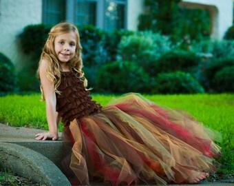 Dark autumn colored full length tutu skirt.