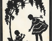 Vintage or Antique Silhouette Print 2 Girls Playing Ready to Frame Artist Unknown Copyright NY  7 x 5 Inches Ephemera Art Supply Collectible