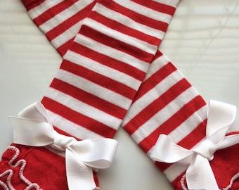 Baby Girl Legwarmers - Candy Cane Leg warmers - red white stripe leg warmer - Baby Girl Christmas outfit - dance leg warmers