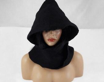 Felted Hood Felted Hat Felt Hoody Nunofelt Hoodie Black Hoodie Art Hat Wild hat hats Nuno Felt