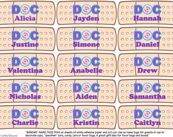 Doc McStuffins Band-Aid / bandage cutout party favors / name tags - TEXT EDITABLE by you - instant download