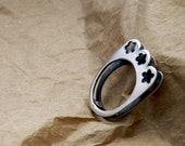 Sterling Silver Double Ring With Flowers