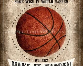 Michael Jordan Basketball Quote - photo print -  Poster Wall Art Textured Distressed Beige Tan Black Vintage Sports Boys Room Decor