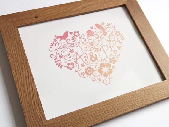 Personalised Love Birds Heart print - Engagement/Anniversary Print