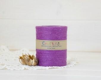 Burlap Twine 400 Yards - 100% Natural Jute String - Color Violet - 400 Yards Spool - Violet Jute Twine - Violet Burlap String