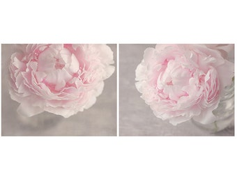 Set of 2 Pink Peony Photographs, Flower Print Set, Your Choice of Size, Fine Art Photography, Pastel Pink, Gray, Feminine, Nursery Art