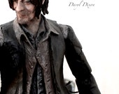 """The Walking Dead - Daryl Dixon 6"""" custom action figure toy with Motorcycle Crossbow and Zombie Walker Lancer Chainsaw Rifle"""