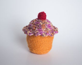 Crocheted Cupcake - Fun Pink and Orange with Cherry, Amigurumi Stuffed Food Cupcake - Perfect for Babies and Toddlers - Fun Stocking Stuffer