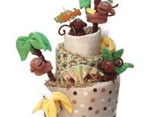 Monkey Diaper Cake. Monkey Baby Shower. Baby Boy. Safari. Jungle. Baby Shower Gift. Baby Shower Decorations.