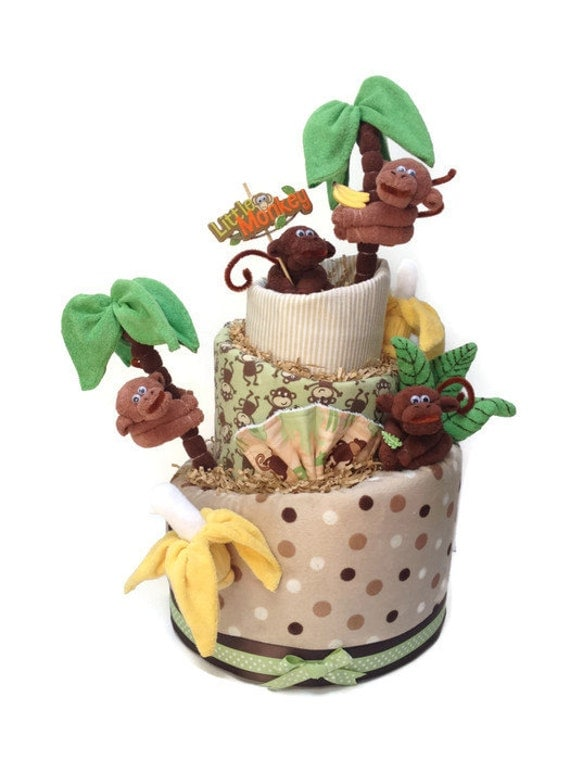 Jungle Themed Baby Gifts Uk : Monkey diaper cake baby shower by princessandthepbaby