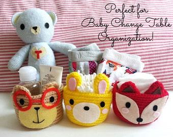 Crochet Basket, Nursery Storage Basket, Small Baskets, Woodland Nursery, Baby Storage, Nursery Organization, Nursery Decor, Baby Shower Gift