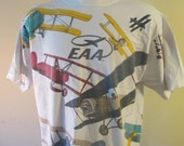 Vintage EAA  Experimental Aircraft Association Oshkosh Shirt Planes Flying Fly Tee T shirt aircraft fun oversize XL