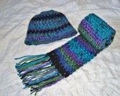 Multi Color Scarf or Hat  - Crochet Hat Set - Striped - Colorful - Green, Blue, Purple, Black - Buy the set and SAVE!