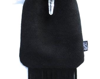 LoopyQ Black Fringe Suede Leather Medicine Pouch with Quartz Crystal Wrap Pendant