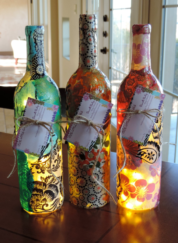 Custom wine bottle lamp unique wine bottle lamps nepalese for Wine bottle artwork