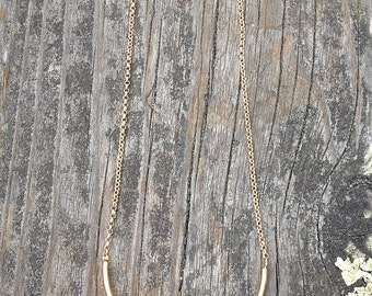 Hex Arc Necklace // Gold + Brass