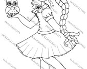 INSTANT DOWNLOAD DOLLiPALOOZA Digital Digi Stamps School Girl with Owl for Cardmaking Scrapbooking
