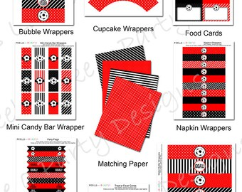 Red Soccer Party Pack - Printable - Instant Download